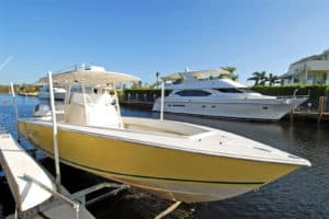 Boat with white canopy and trim