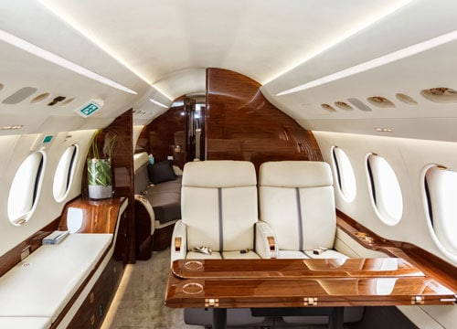 Wood interior of private jet