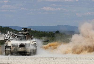 Hentzen defense coating on M1A1 Abrams tank