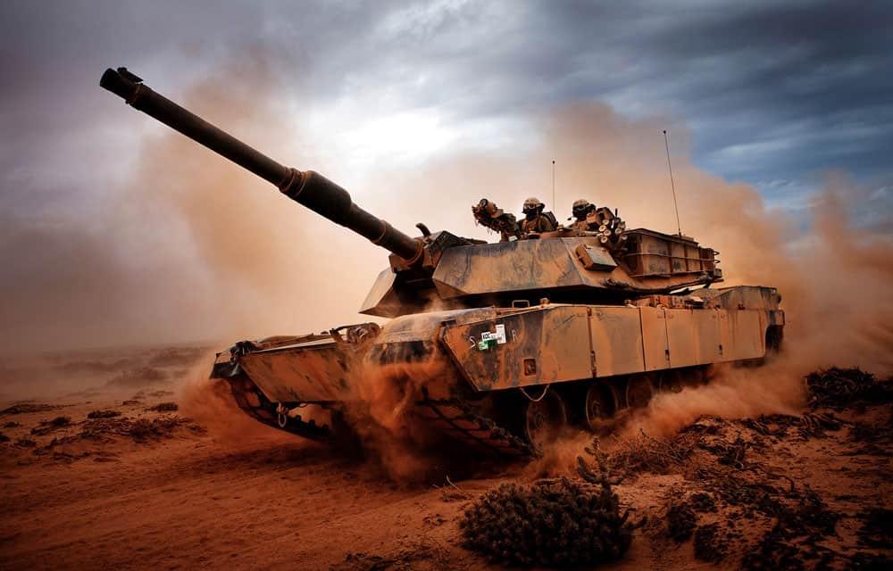 M1A1 Abrams tank moving through sand