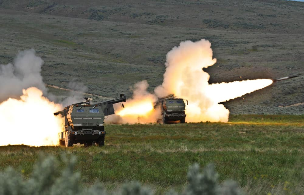 Lockheed Martin HIMARS rockets launching