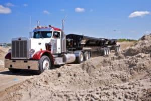 Side Dump trailer on truck